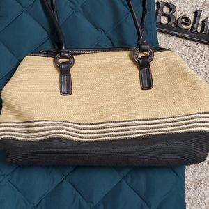 St. John's Bay handbag. Tan and black.